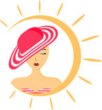 Illustration of a woman with hat and swimsuit. Summer icon in the form of the sun. Vector illustration. Abstract pattern Royalty Free Stock Image