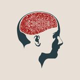 Illustration of a woman head with brain. Abstract illustration of a human head with brain. Woman face silhouette. Medical theme creative concept Stock Photo
