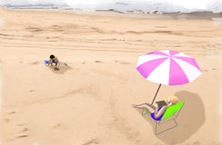 An illustration of a woman and her child on a beach Stock Images