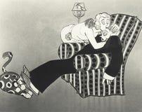 Illustration of woman kissing sleeping husband Royalty Free Stock Images