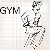 Illustration of Woman lifting dumbbells at the gym Stock Images