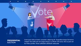 Illustration Woman Listens her Political Opponent vector illustration