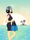 Woman with mask and fins. Illustration of woman with mask and fins Royalty Free Stock Images