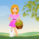 Woman with a mimosa basket. Illustration of woman with a mimosa basket vector illustration