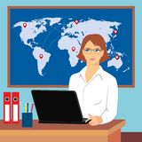 Illustration of a woman in the office with a laptop on the background of the world map. Vector  illustration of a woman in the office with a laptop on the Stock Image