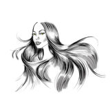 Illustration of Woman Portrait with flowing long black hair Royalty Free Stock Photography