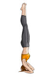 Girl doing yoga headstand (Shirshasana) Royalty Free Stock Image