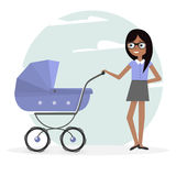Illustration woman and pram. Young mom and baby stroller. Young mom and baby stroller. Illustration woman and pram Royalty Free Stock Image