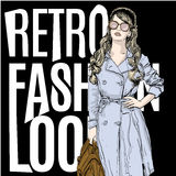 Illustration of a woman in a retro style Royalty Free Stock Photography
