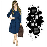 Illustration of a woman in a retro style Royalty Free Stock Images