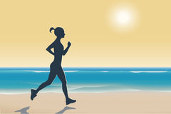 Illustration of woman running on a beach. At sunset Royalty Free Stock Photos