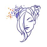 Illustration of woman`s with long hair icon, logo of woman`s face on white background vector illustration