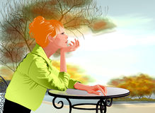 Illustration Woman Seating by the Table. Outdoor Stock Photography