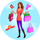 Illustration of woman shopping. Illustration of fashion conscious woman carrying four shopping bags.  Shoes, gloves, handbag and hat are illustrated separately Stock Images