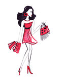 Illustration of woman with shopping bags Stock Images