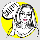 Illustration of woman with the speech bubble. Pop Art poster. Royalty Free Stock Image