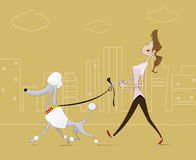Illustration of  woman taking  walk with the dog Royalty Free Stock Images