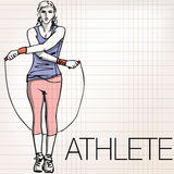 Illustration of woman training with jump rope Stock Images