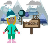 Illustration of woman welcoming to the resort in mountains Stock Images