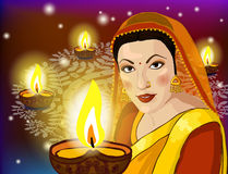 Illustration of woman wishing Happy Diwali Royalty Free Stock Images