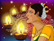 Illustration of woman wishing Happy Diwali Stock Images