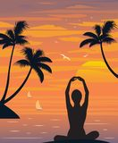 Woman in yoga pose on the beach. Illustration of woman in yoga pose on the beach looking at the sunset stock illustration