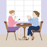 Illustration with women at the cafe. Decorative background with illustration of women stock illustration