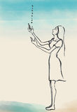 Illustration of a women in dress receive the blessing. Royalty Free Stock Photo