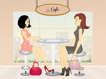 Women drink cafe Royalty Free Stock Image