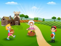 The women farmers gathered in farm. Illustration of The women farmers gathered in farm at daylight Royalty Free Stock Photos
