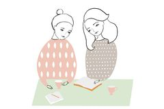 Women or girls reading and studing book, making notes at the table. Pattern feminine design. stock illustration