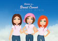 Women joined for the fight against breast cancer. Illustration of women joined for the fight against breast cancer Stock Images