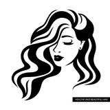 Illustration of women long hair style icon, logo women face. Face girl with long hair, beautiful hairstyle with black curls on a white background stock illustration