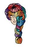 Illustration of women long hair style icon, logo women face on white background, vector illustration
