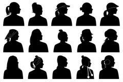 Illustration of women portraits. Isolated on white Royalty Free Stock Image