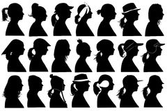 Illustration of women profiles Stock Photography
