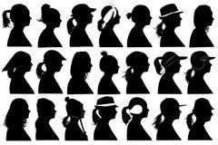 Illustration of women profiles. Isolated on white royalty free illustration