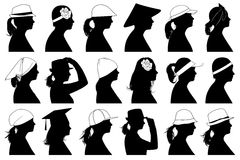 Illustration of women profiles. Isolated on white Stock Photography