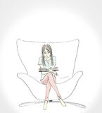 Illustration of a women reading a book sit on large chair by hand draw art work. Stock Image