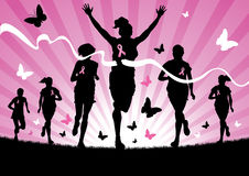 Women Running. Illustration of women running in a race to raise awareness for cancer Stock Illustration