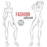 Illustration of women`s figure. Outline girl model template for fashion sketching. Front and back sides. Illustration of women`s figure for designers of clothes Stock Photo