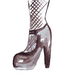 Illustration of women's shoes in fishnet tights. On a white background Stock Image