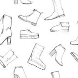 Illustration of Women seamless Hand drawn pattern with winter shoes. Fashion elegand footwear for female. Comfort for Stock Photography