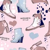 Illustration of Women seamless Hand drawn pattern with winter shoes. Fashion elegand footwear for female. Comfort for Royalty Free Stock Images