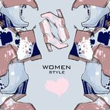 Illustration of Women seamless Hand drawn pattern with winter shoes. Fashion elegand footwear for female. Comfort for Royalty Free Stock Photo