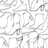 Illustration of Women seamless Hand drawn pattern with winter shoes. Fashion elegand footwear for female. Comfort for Royalty Free Stock Photos
