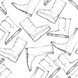 Illustration of Women seamless Hand drawn pattern with winter shoes. Fashion elegand footwear for female. Comfort for Royalty Free Stock Image