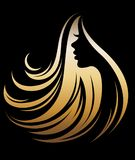 Illustration  of women silhouette golden icon. Women face logo on black background Royalty Free Stock Photography
