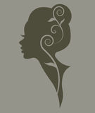 Illustration  of women silhouette green icon Royalty Free Stock Images