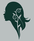 Illustration  of women silhouette green icon Stock Images